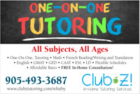 In-Home, 1-on-1 Tutoring- Math, Physics,Science, French, English
