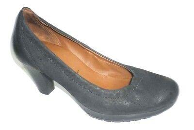 "HOGL matt black leather 2.5"" heel court shoes roomy UK 3.5 fit UK 4"