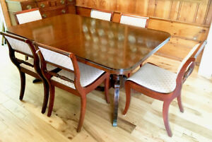 Drexel Mahogany Dining Table with Chairs and Sideboard