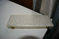 Box containing Elizabethan Silver Scroll pearl necklace