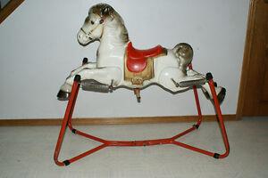 Antique spring horse 1940s (metal)
