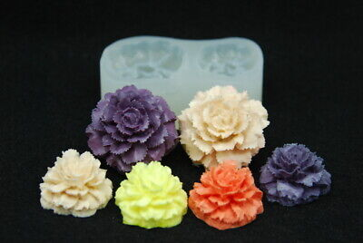 2 Carnation set, Silicone Mold Chocolate Polymer Clay Jewelry Soap Wax Resin