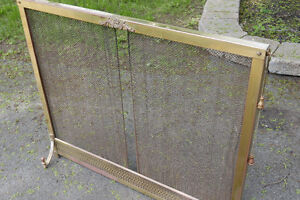 Brass fireplace screen and tool set