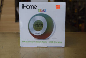 iHome Color Changing FM Dual Alarm Clock Radio (USB Charging)