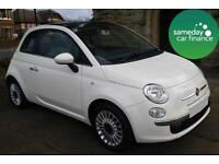 £126.12 PER MONTH WHITE 2013 FIAT 500 1.2 LOUNGE RHD MANUAL PETROL