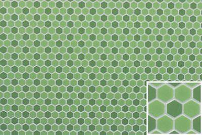 Dollhouse Miniature Hexagon Tile Flooring in Green