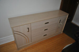 Commode beige tiroirs et portes - Beige dresser with drawers and