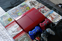 Playstation 3 - Red Slim Console + 3 Controllers + 9 Games