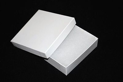 12 White Cotton Filled Jewelry Craft Bracelet Earring Chain Gift Boxes 3 12
