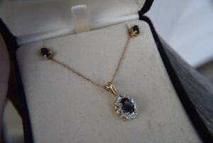 18K-10K Gold and Sapphire Necklace and Pendant + Earrings Set