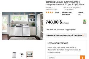 Samsung Sécheuse électrique 9 cycles à chargement vertical, 27 p