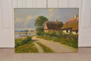 Vintage Danish Village Oil Painting on Canvas