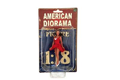 "70's LADY WOMAN FEMALE in RED FIGURE VIII AMERICAN DIORAMA 1:18 GIRL 4"" Figure"