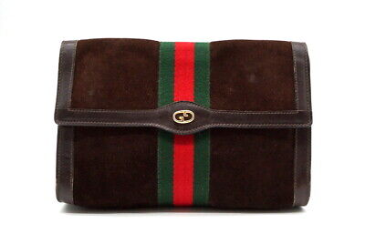 GUCCI PARFUMS Vintage Sherry line Clutch Bag Pouch Suede leather Brown 0927h