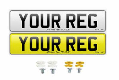 Pair Standard MOT UK Road Legal Car Van Reg Registration Number Plates & Fixings