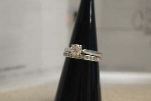 Stunning Ladies White Gold 14k Solitaire Wedding Set, 0.59ct