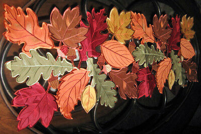 Autumn Fallen Leaves Collage Thanksgiving & Fall Decor Table Runner 36