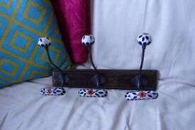 Ethnic wooden and porcelain wall hooks