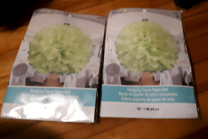 2- large GreenTissue paper flowers-$8 for both