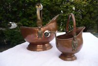 2 vintage decorative Lg & Sm copper/brass coal scuttle buckets