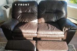 Dark Brown Leather Love-Seat Recliner (x2) *bonus*