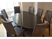 Black glass Artedi dining table