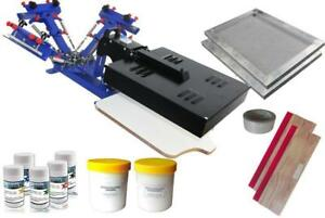 3 Color Screen Printing Kit Rotary Press Flash DRYER Silk Screen Printing Squeegee Screen Frame 006954