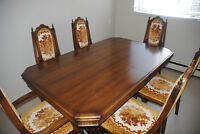 Antique hardwood table with 6 chairs