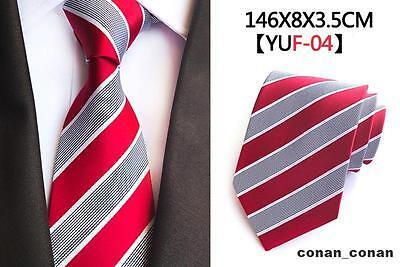 Red Tie Grey and White Stripe Patterned Handmade 100% Silk Necktie 8cm Width