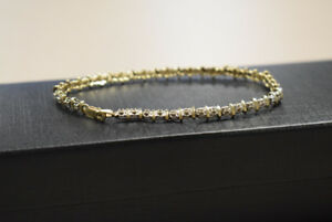 "Beautiful 7.5"" Diamond 10k Yellow Gold Bracelet, 6.19G #755"