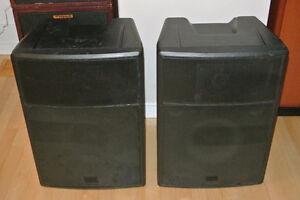 """► 2 caisses de son passives, woofers 12"""", 500 watts RMS total ◄"""