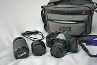 Canon T70 film camera with 3 lenses - 24mm, 50mm, 70-200mm zoom