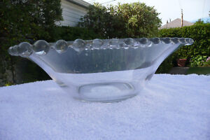 Vintage Retro Clear Glass Bowl with Bubble Edging