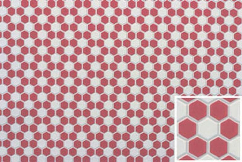 Hexagon Tile Flooring in Red & White Dollhouse Miniature