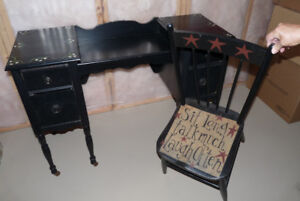 Antique hand painted desk and chair