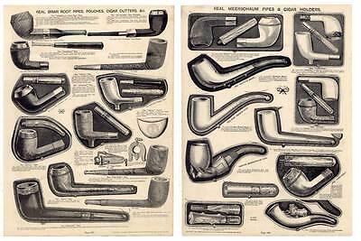 Tabakspfeifen-Tobacco Pipes-Katalog-Holzstich 1890 Pfeifen-Tabakpfeifen-Rauchen