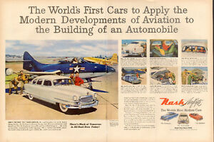1950 2-page magazine ad for Nash Airflyte Automobiles