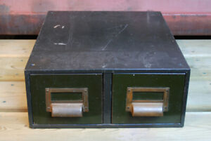 Antique Metal Army Green Cubbie Two Drawer File Cabinet Steel