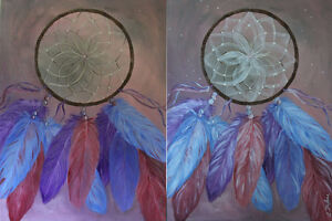 """18"""" x 24"""" Hand Painted Shimmering Dream Catcher Painting"""