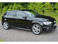 AUDI A3 1 6 S LINE TDI 5DR SPORT BACK 2013 LEATHER SAT NAV HEATED SEATS TAX £0