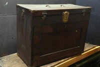antique wood machinist tool box.