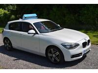 BMW 116 2.0TD SPORT 2013 5DR METALLIC WHITE RED LEATHER SAT NAV PARK AID TAX £30