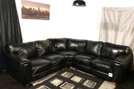 •• Dfs new ex display black real leather corner sofa