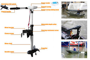 2 HP 100 lbs Electric trolling Motor 24 volts
