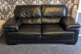 2 seater black leather sofa free