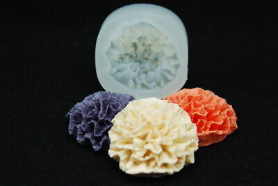 Carnation #4, Silicone Mold Chocolate Polymer Clay Jewelry Soap Wax Resin