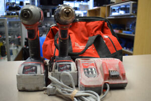 """Milwaukee1/4""""Impact Driver, 1/2""""Hammer Drill w/Charger  (#2518)"""
