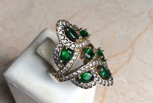 .925K Sterling Silver and Bronze Emerald Ring, Size 8