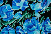 Blue Floral on Black Fashion Fabric