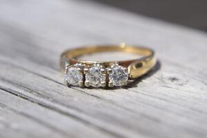 14K 0.61ct Three-Stone Diamond Engagement Ring - Size 8